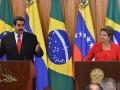 Pr Dilma e o pr da Venezuela Maduro, durante declaração a imprensa