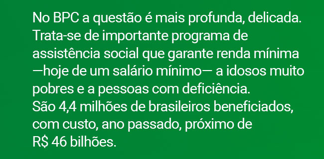 No BPC a questão é mais profunda, delicada. Trata-se de importante programa de assistência social que garante renda mínima ?hoje de um salário mínimo? a idosos muito pobres e a pessoas com deficiência. São 4,4 milhões de brasileiros beneficiados, com custo, ano passado, próximo de R$ 46 bilhões.