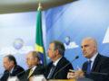 Brasília - O senador Aloysio Nunese os ministro Sérgio Etchegoyen, Raul Jungmann e Alexandre de Moraes, durante coletiva sobre o Plano Nacional de Segurança (Marcelo Camargo/Agência Brasil)